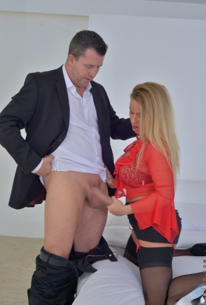 Stockings clad MILF gets ass fingered  fucks doggystyle with cum on tongue