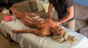 Golden haired Cameron Dee gets seduced and fucked by her horny masseur