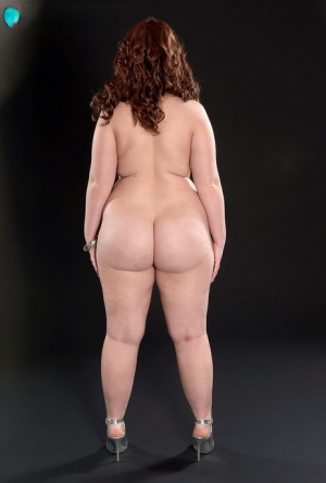 BBW Felicia Clover stands totally naked in ankle strap heels