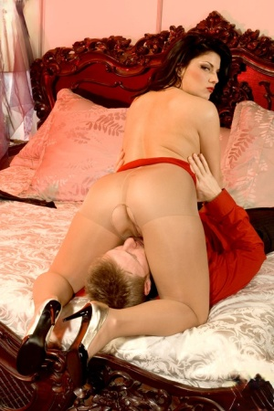 Hot brunette Erin Marxxx gets banged in crotchless pantyhose and heels