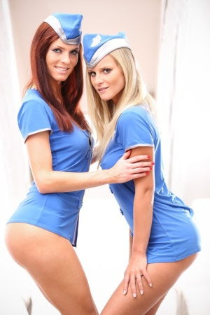 Sexy stewardesses Marry Queen & Eileen Sue have lesbian sex during a layover