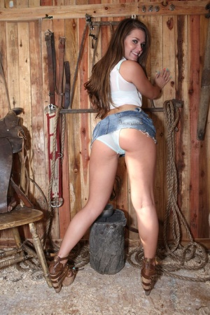 Farm girl Abby Cross invites her rich friend for a hot country fuck session
