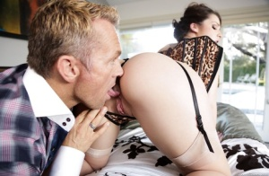 Sexy pornstar Lola Foxx gets ass licking  rides cowgirl wearing stockings