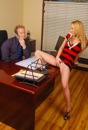Busty hot blonde secretary removes tight dress in reality office seduction