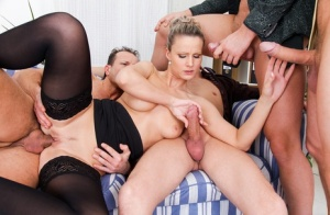 Horny slut Samantha Jolie in stockings gets double fucked in hot foursome