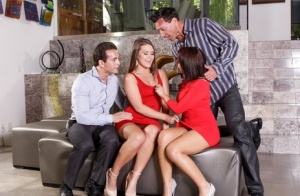 Sexy wives Chrissy Chase & Abby Cross swap partners during a hardcore foursome 33672010