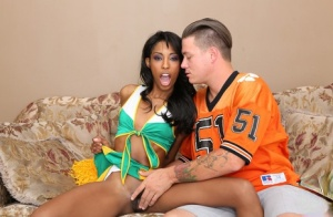 Ebony cheerleader Adriana Malao takes a cumshot on her butt after a fuck