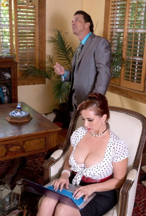 Secretary Demmi Valentines hooters attract the bosses attention at work 81579593