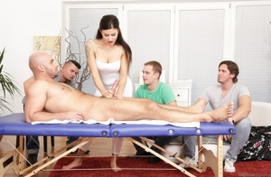 Busty slut Billie Star gets cum covered withdouble penetration in gangbang