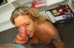 Blonde granny with saggy boobs jerks the jizz from a dick in POV mode