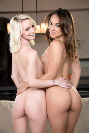 Young girls Sara Luvv  Sammie Daniels show their tight asses after disrobing
