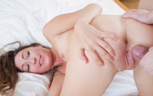 Beautiful erotic brunette shows closeup pussy creampie after fucking her BF