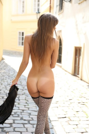 Pretty long legged Maria shows her small tits and strips naked in public 44240351