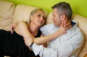 Horny mature granny straddles her young lover boy for kissing  licking