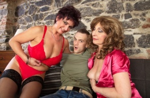 Horny mature cougar trio seduce a couple of young studs for steamy groupsex