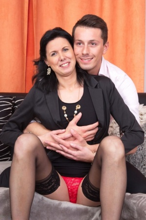 Mature brunette cheats on her husband with her younger lover