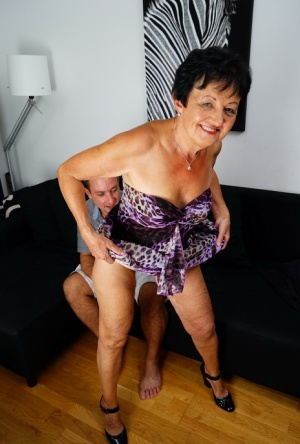Naughty grandmother gets banged doggystyle by her much younger lover