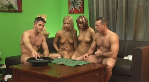 Drunken couple plays hot stripping party game with double penetration