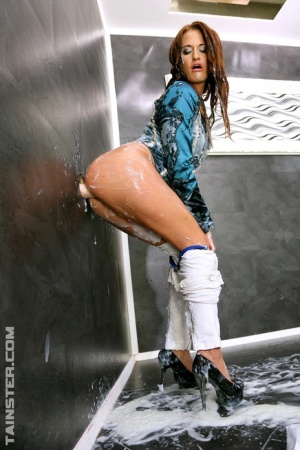 Fetish girl fingers her pussy while getting soaked in gloryhole bukkake 26195104