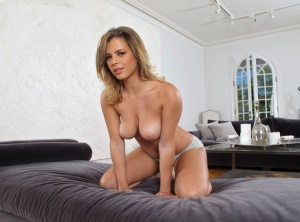 Big titted Keisha Grey in shedding shorts to show tight ass  toy bald twat