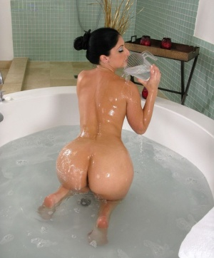 Hot Latina Luscious Lopez spreading ass wide and showing wet pussy in the bath
