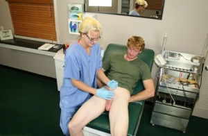 Naughty nurse jerks off a patients dick in latex gloves and glasses