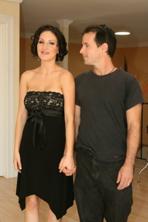 Dark haired wife Mindy sucks the neighbor and get boned while hubby watches