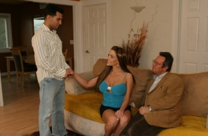 Sexy wifey Victoria fucks a stranger in front of her cuckold hubby