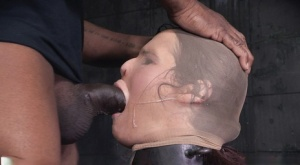 Female sex slave Syren de Mer is mouth fucked with a nylon over her head 85413567