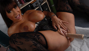 Asian MILF Ava Devine gets banged by a machine dildo before speculum insertion