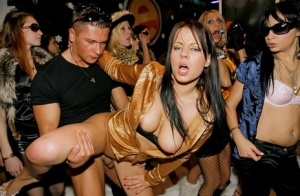 Hot party girl are in the mood for a full blown orgy at the local club