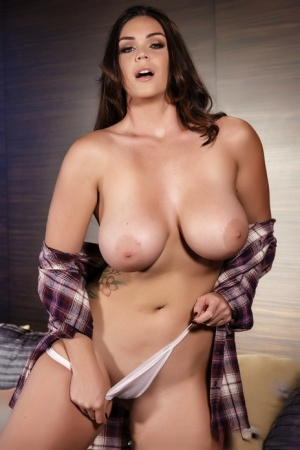 Thick brunette model Alison Tyler reveals her nice melons as undresses 74435131