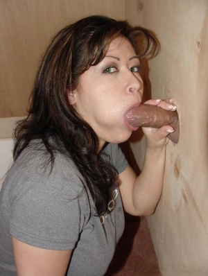 Busty chick Misty cleans up with a towel after a gloryhole blowjob