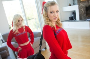 Amateur teens Piper Perri and Bailey Brooke shed cheerleader outfits
