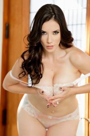 Sexy MILF Jelena Jensen works her great body free of a bra and panty combo