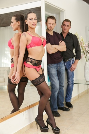Stocking clad slut Mea Melone gets dp  cum on ass in hot threesome