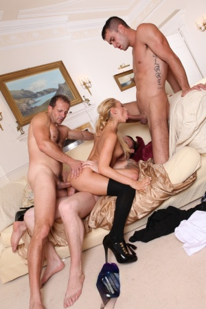 Horny blonde Aleska Diamond takes on three cocks for DP and hardcore anal