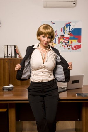 Hot mature woman Stella Styles fucks a younger man in her office