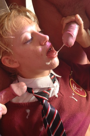 Alicia Rhodes dominates tiny titted schoolgirl Teena Fine in rough group sex