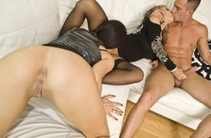 Party slut Megan Coxxx shares a few licks with her GF in a steamy threesome