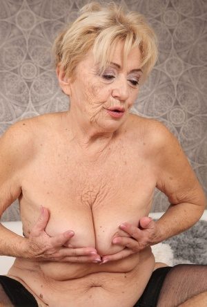 Horny granny Maya Lambert gets a pussy lick  rides on top of her young lover