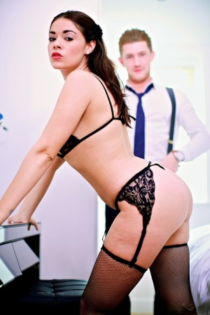 Fair skinned beauty Ava Dalush seduces her man in black lingerie and nylons