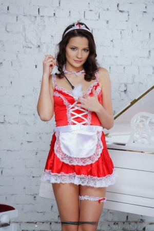 European glamour babe Ardelia A baring shaved teen pussy in maid uniform 80745700