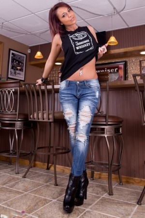 Amateur erotic model Nikki Sims shedding jeans to flaunt hot ass wearing boots