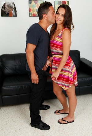 Brunette chick Kelsi Monroe uncovers her tiny tits on the way to having sex