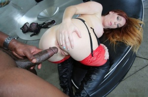 Redhead female Dani Jensen goes pussy to mouth with a massive black penis 11303995