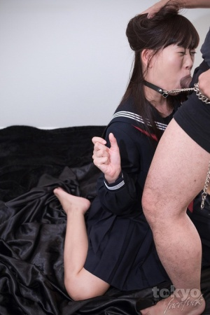 Japanese slave flashes cotton underwear before being mouth fucked
