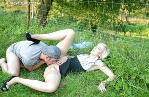 Slutty vixen enjoys fully clothed fucking and gets pissed on outdoor