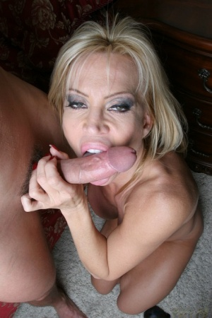 Curvy blonde cougar gives head and gets shagged for cum on her tongue