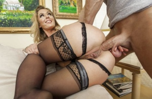 Perky blondie in stockings has some face sitting and anal drilling fun